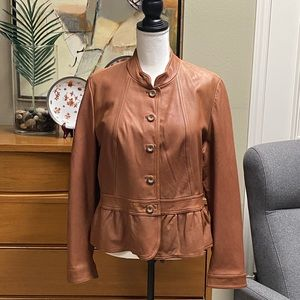 A.N.A. tan leather jacket with peplum waistline
